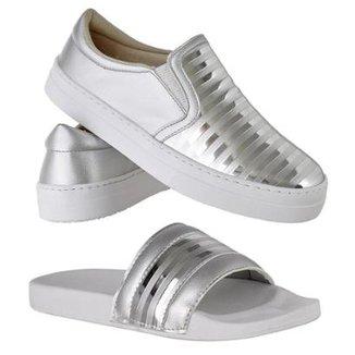 Kit Slip On Emanuelly Shoes Feminino + Chinelo Slide Emanuelly Shoes  Feminino aa52981e9a2f70  Sapatilhas ... 0219bd3f24