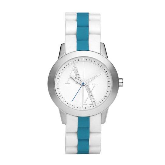 82a2bf5cf40 Relógio Armani Exchange Feminino Branco e Azul - UAX5072 N UAX5072 N - Prata