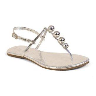 1f163f6ac Sandália Mercedita Shoes Rasteira Verniz Bolas Conforto Feminina