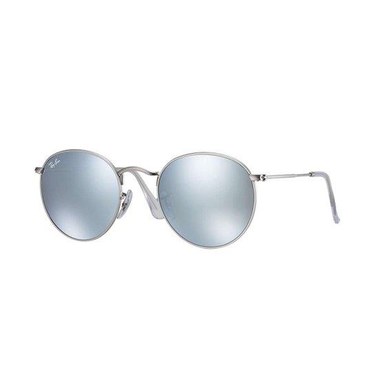 Óculos de Sol Ray-Ban Round Rb3447L Masculino - Prata - Compre Agora ... f3d0d79ec0