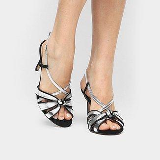 d8921a2bdd Sandália Couro Shoestock Salto Fino Nó Feminina