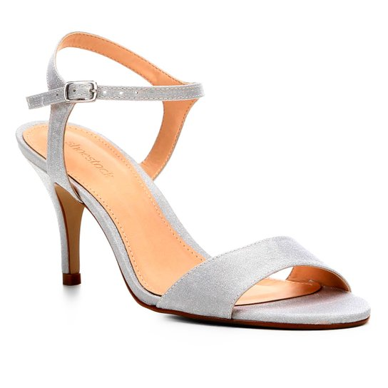 abbcfeccb5 Sandália Shoestock Salto Fino Cetim Feminina - Prata - Compre Agora ...