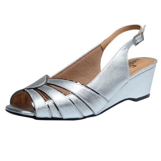 f2a4ce0d97 Sandalia Confort Anabela Feminino - Prata - Compre Agora