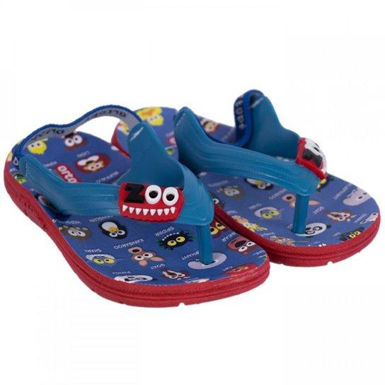 dc511610bbfa7 Chinelo Infantil Masculino Ortopé Aqua Flex PVC 2107124 - Azul+Vermelho