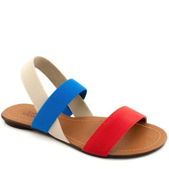 3a9e36a7a8 Rasteira Elástico Sapato Show Numeração Grande - Azul e Vermelho ...
