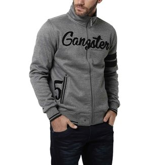 Jaqueta de Moletom Masculina Gangster Cinza escuro dd5137ad2bd