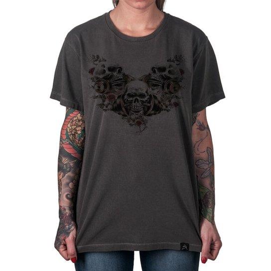 1d15ece22f Camiseta Caveira Artseries Feminina - Grafite - Compre Agora
