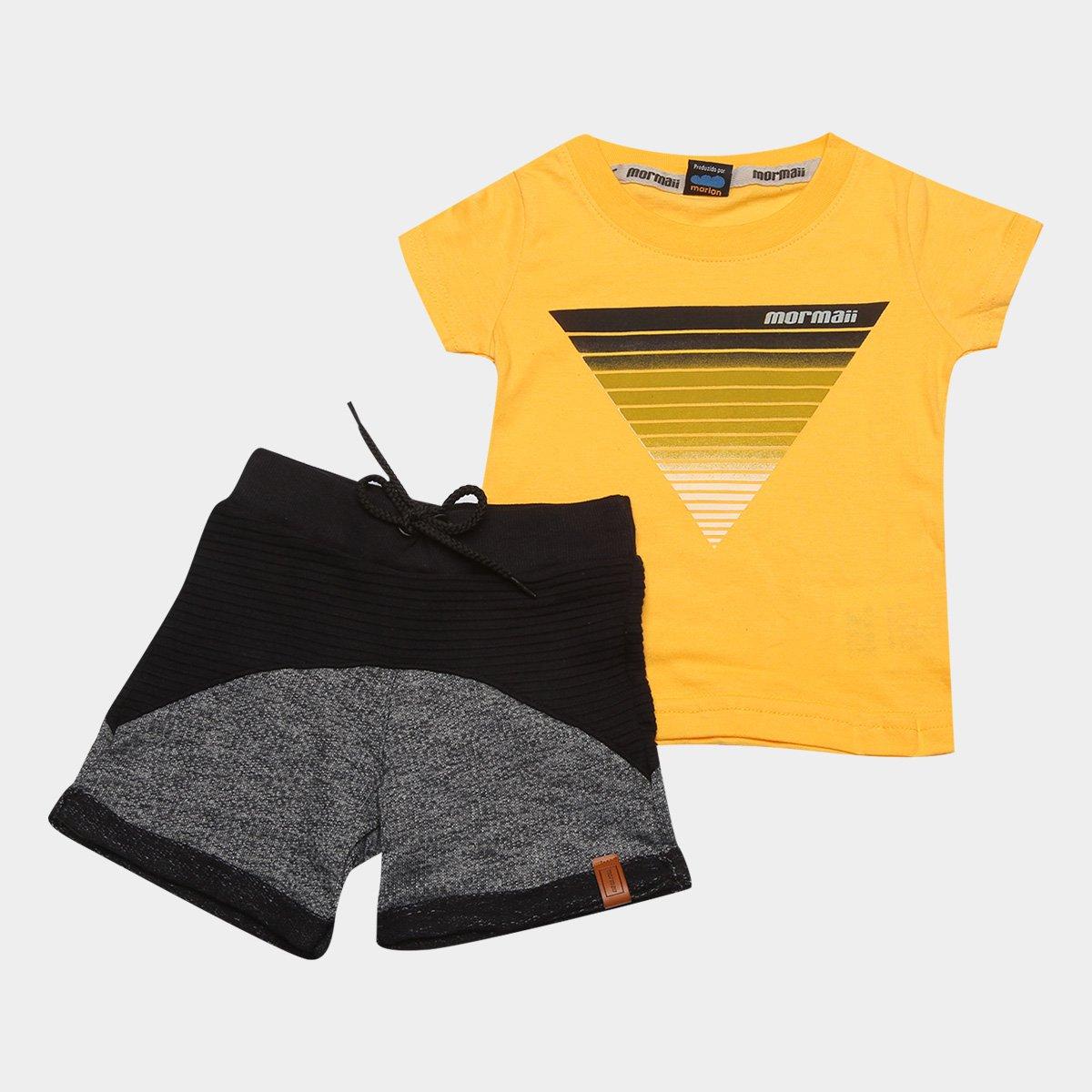 Conjunto Infantil Mormaii Camiseta Estampada + Bermuda Flamê Masculino