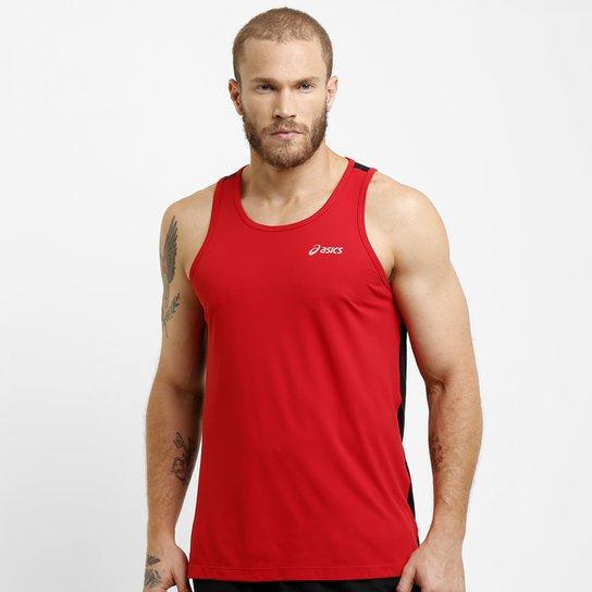 0946bc3f7c8c2 Camiseta Regata Asics Poliamida - Vermelho+Preto
