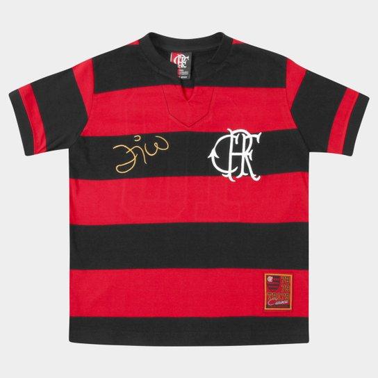 44343f09a9 Camiseta Flamengo Retrô - Zico Infantil - Vermelho e Preto | Zattini