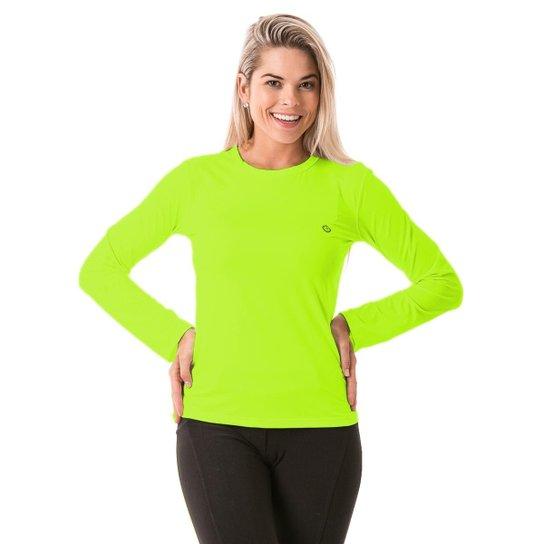 612d551523 Camiseta com Proteção Solar Manga Longa Extreme UV Ice - Amarelo  Fluorescente