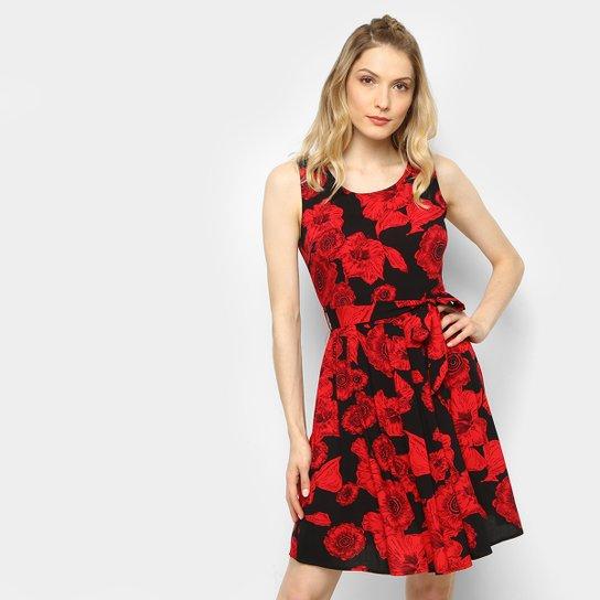 6300c9843 Vestido Top Moda Curto Evasê Estampado - Vermelho+Preto