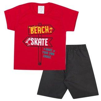 Conjunto Infantil Camisa em Meia Malha Skate+H296 e Bermuda em Tactel  Masculino 831311bce8af0