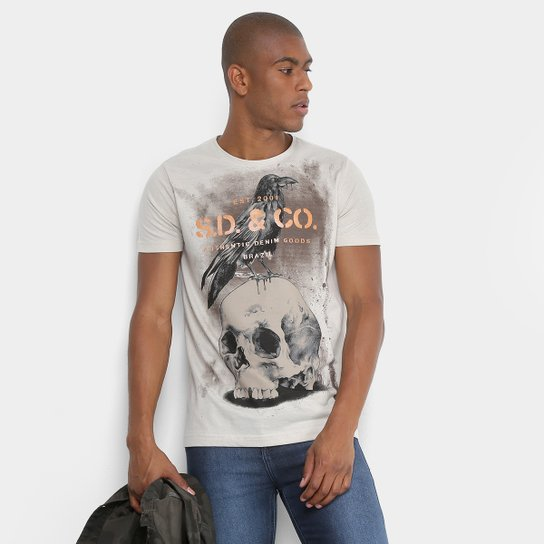 5bd8a6fe9 Camiseta Sideway Gola Careca Estampa Caveira Masculina - Caqui e ...