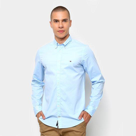 238751859100b Camisa Tommy Hilfiger Manga Longa Básica Masculina - Azul Claro ...