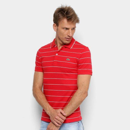 3a67e6362a13c Camisa Polo Lacoste Listrada Slim Masculina - Vermelho e Off White ...