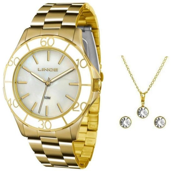 Kit Relógio Feminino Lince Analógico Lrgj067l Ku94 - Dourado ... 26387d1de9
