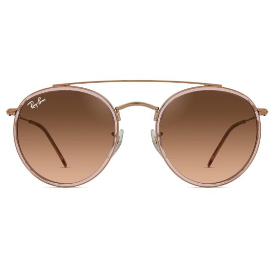 6fb57a1ff Óculos de Sol Ray Ban Round Double Bridge RB3647N 9069A5-51 - Dourado