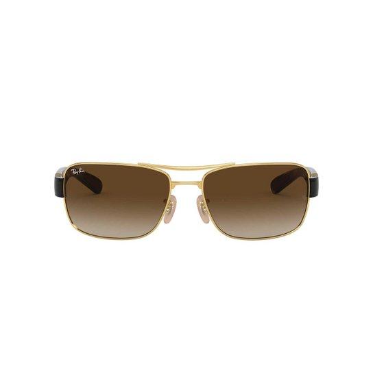 c950ef7501412 Óculos de Sol Ray-Ban Quadrado RB3522 Masculino - Dourado - Compre ...