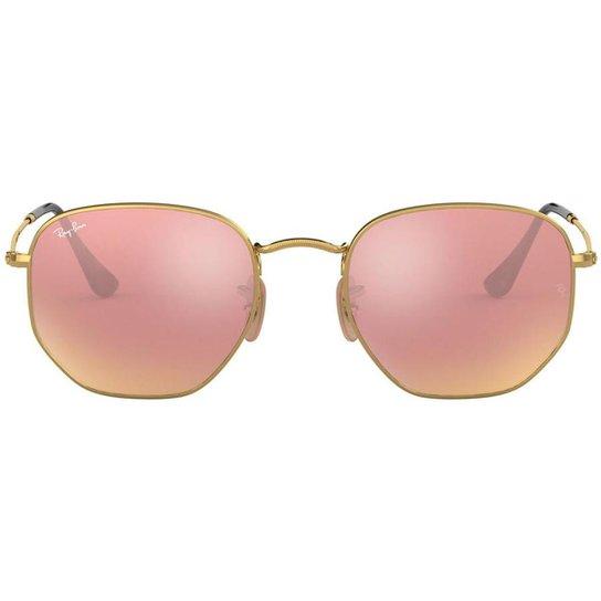 b247169d2b869 Óculos de Sol Ray Ban Hexagonal RB 3548N 001 Z2 - Dourado - Compre ...