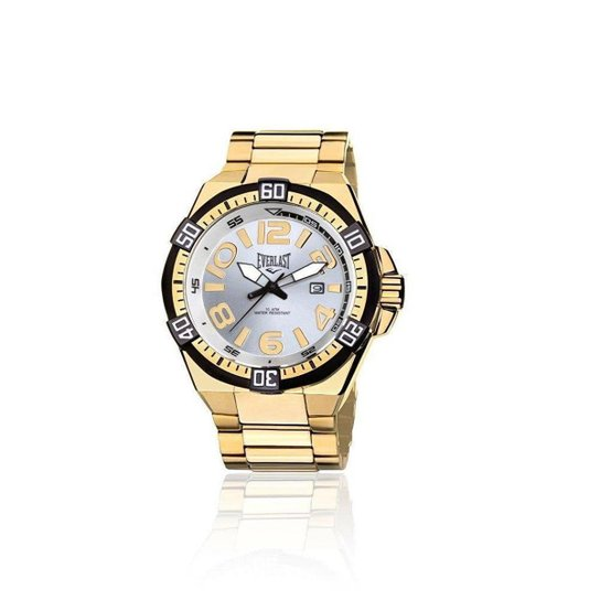 c2e8ba42c2f Relógio Masculino Everlast Analógico Cx e Pulseira Aço - Dourado ...