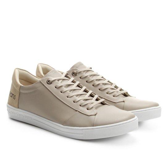 Sapatênis Couro Calvin Klein Masculino - Branco e Bege - Compre ... 5ecd7164d1