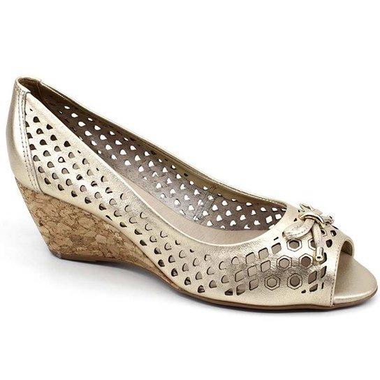460300687e Sapato Peep Toe Bottero 278803 Couro - Dourado