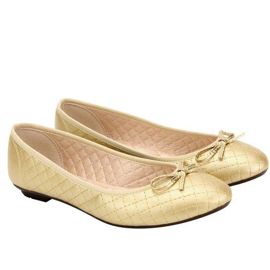 9d042acbfc Sapatilha Moleca Matelasse Básico Lacinho - Dourado - Compre Agora ...
