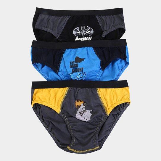 a12fef314fe023 Kit de Cuecas Infantil Lupo Slip Estampa Batman 3 Peças - Azul e Cinza