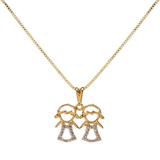 Colar Meninas Filhas Irmãs Folheado Ouro - Dourado - Compre Agora ... 28558d2d42