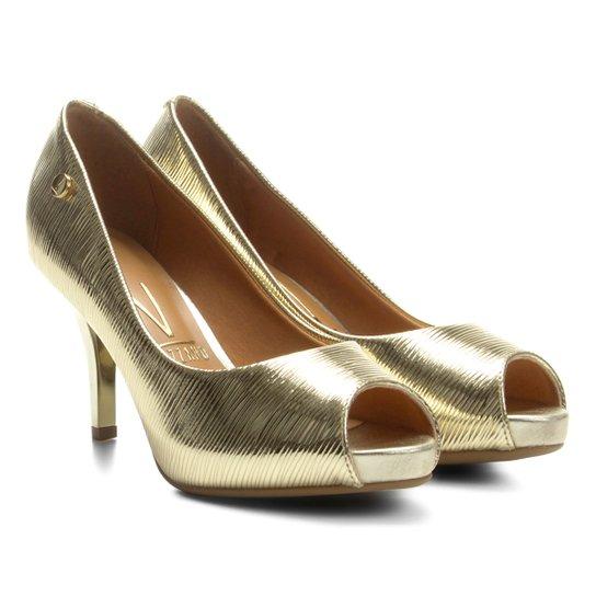 1f99b7a6d Peep Toe Vizzano Salto Fino Metalizado Textura - Compre Agora