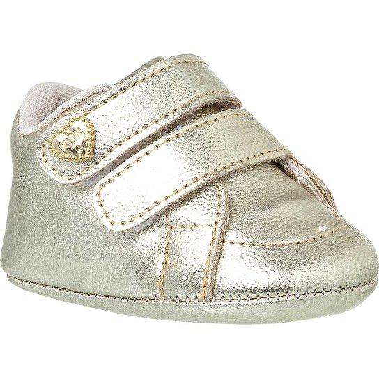 33925793b1 Sapatinho de Bebê Feminino Klin Recém-nascido Velcros - Dourado