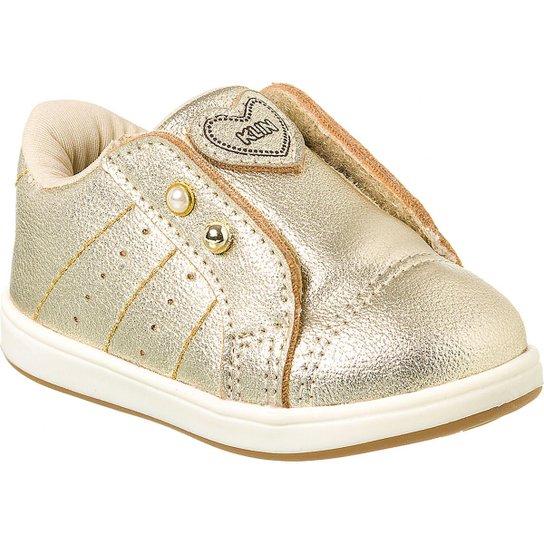 8a07ca7f6108e0 Tênis Bebê Klin Mini Gloss Coração Feminino - Dourado