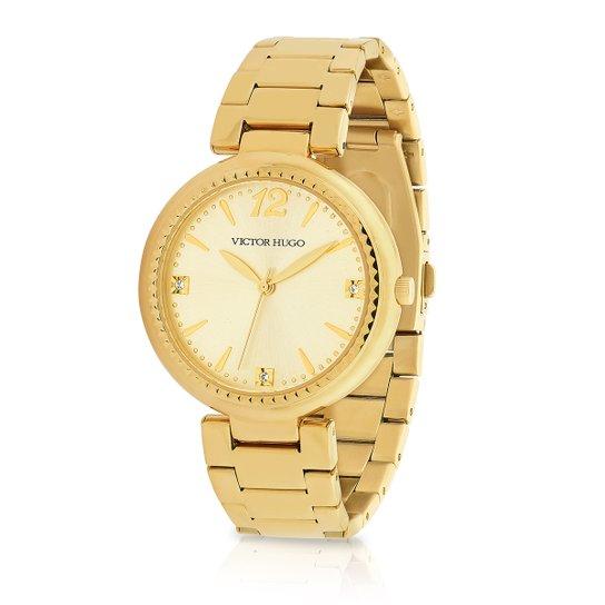 2351acc5dbaa6 Relógio Victor Hugo Analógico 10154LSG 06M Feminino - Dourado ...