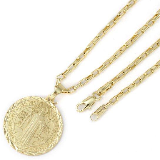 e379465ef6f Pingente Tudo Joias São Bento Com Corrente Cartier Folheada A Ouro 18K -  Dourado