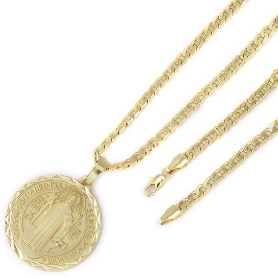 Medalha Tudo Joias São Bento Com Conjunto Folheado A Ouro 18K - Dourado 93953dde0a