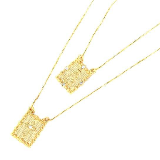 ea0a43f1d9c99 Escapulário Tudo Joias Nossa Senhora Aparecida Folheado A Ouro 18K - Dourado