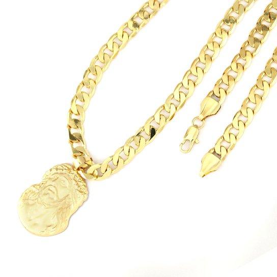 Pingente Tudo Joias Face Cristo Com Corrente Folheado A Ouro 18K - Dourado 66b2f48a4c