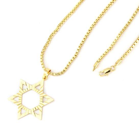 a21fc7bb5e06d Pingente Tudo Joias Estrela De Davi Com Corrente Veneziana Folheado A Ouro  18K - Dourado