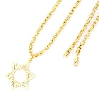 3b648f7a67d Pingente Tudo Joias Estrela De Davi Com Corrente Cartier Folheado A Ouro 18K
