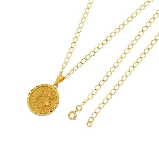 Pingente São Jorge Com Corrente Tudo Joias Grumet Folheado a Ouro 18k -  Dourado b88cd0b530