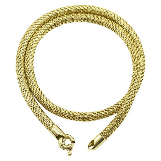Conjunto Pulseira Com Colar Tudo Joias Elo Cobra Folheado a Ouro 18k -  Dourado a8ef08927b