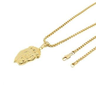 dc188308f18 Kit Pingente Face de Cristo Tudo Joias com Corrente Veneziana 3mm 60cm  Folheado a Ouro 18k