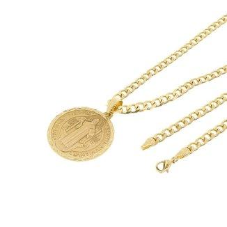 d1d8157ceb6 Kit Medalha São Bento Tudo Joias com Corrente Grumet 5mm e 60cm Folheado a  Ouro 18k