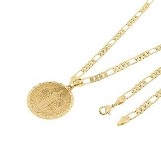 72d96f711635b Kit Medalha São Bento Tudo Joias com Corrente Elo 3x1 6mm e 60cm Folheado a  Ouro