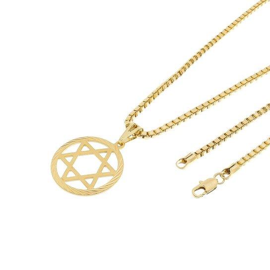 a2947d58242a1 Kit Pingente Estrela de Davi Tudo Joias com Corrente Veneziana 3mm e 60cm  Folheado a Ouro