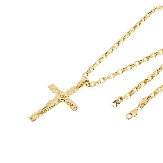 d4ae4284f2b Kit Pingente Cruz Tudo Joias com Corrente Cartier 4mm e 60cm Folheado a  Ouro 18k - Dourado