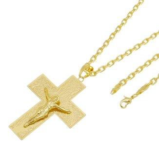 48df4f9b0a7 Kit Pingente Cruz com Corrente Tudo Jóias Cartier Diamantada Folheado a Ouro  18k