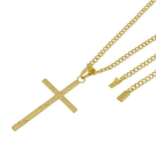 c01da18e5e667 Kit Pingente Cruz com Corrente Tudo Jóias Grumet Fecho Gaveta Folheado a  Ouro 18k - Dourado