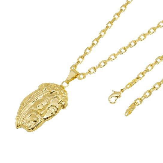 292e7eea0eaa3 Kit Pingente Face de Cristo com Corrente Tudo Jóias Cartier Diamantada  Folheado a Ouro 18k -